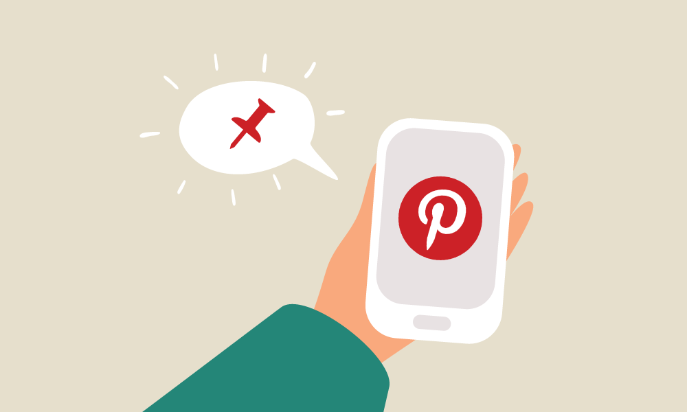 Illustration of a person holding a phone with the Pinterest logo.
