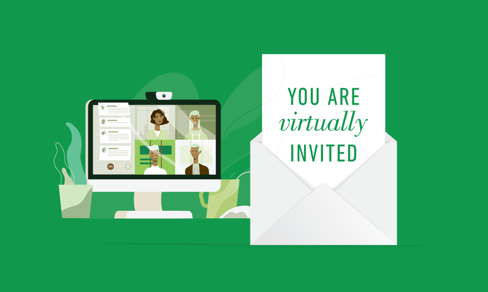 """An open envelope with a sheet inside that reads """"You are virtually invited"""". A computer with a screen of a video conference sits in the background."""