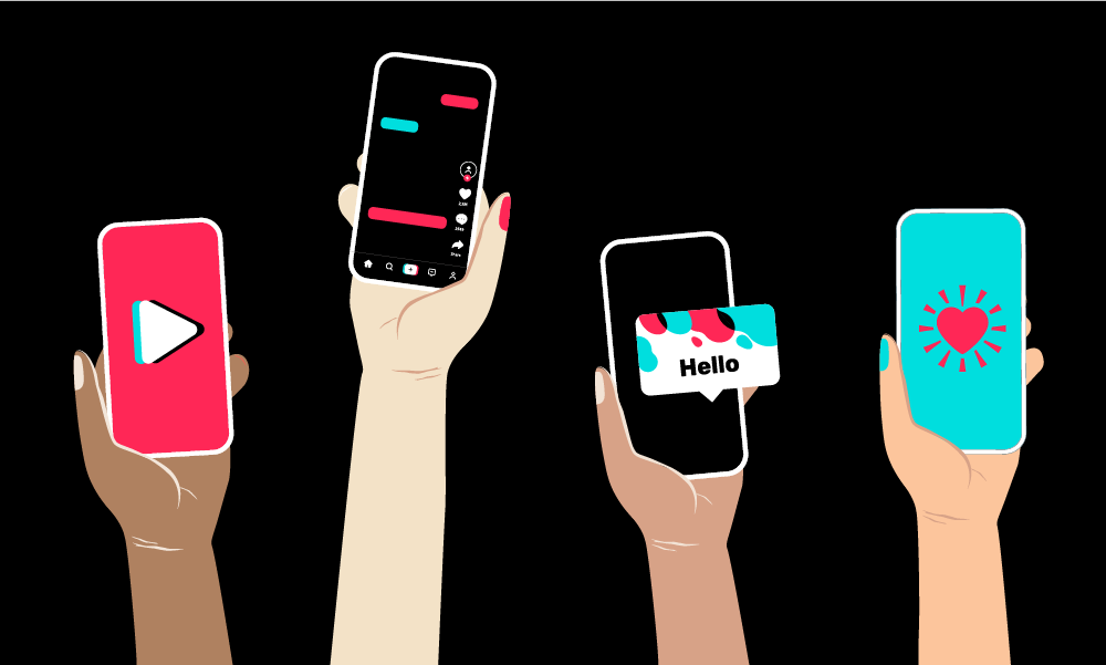 Illustration of hands holding up phones with Tik Tok screenshots.