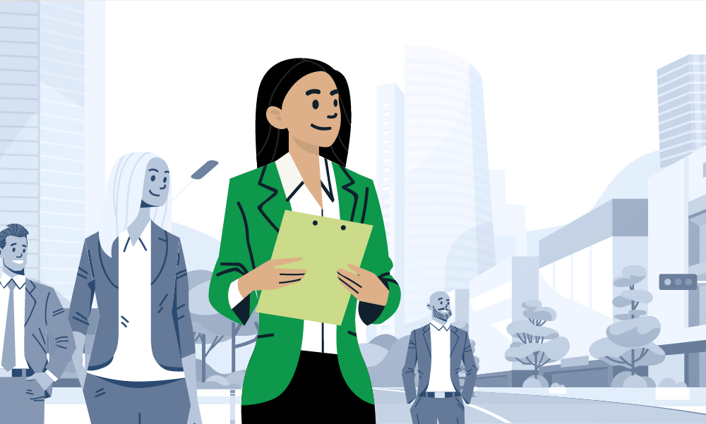 Illustration of a businesswoman in a green jacket