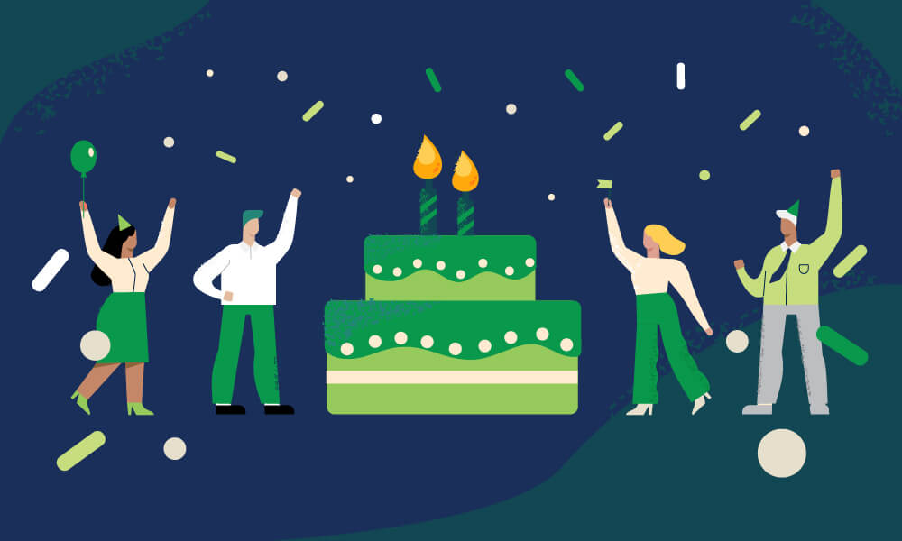 Illustration of employees celebrating their corporate anniversary